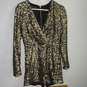 Sequined Gold&Silver long sleeve vneck romper